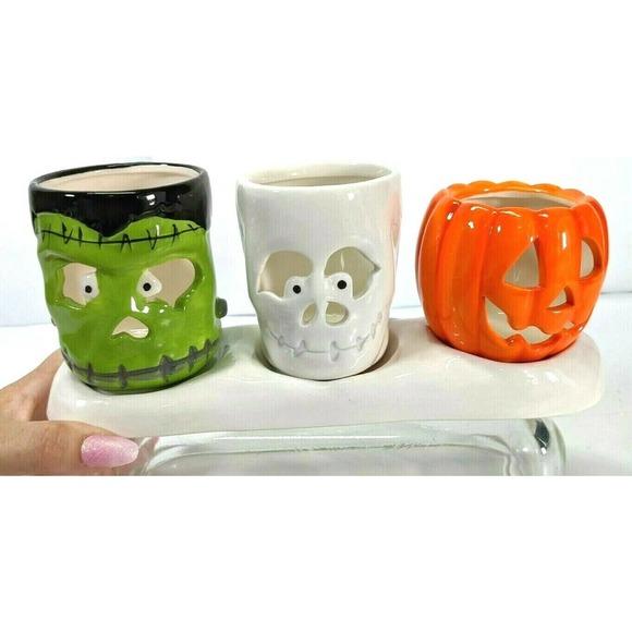 Yankee Candle Tealight Holder Back To Classics Frankenstein, Pumpkin, Skull